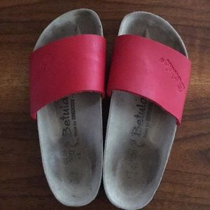 Red slip on Birkenstocks